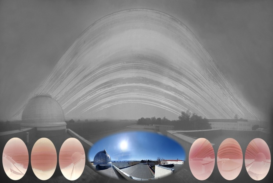 Výsledná solarografia s panoramtickým pohľadom na scénu a všetkými použitými expozíciami